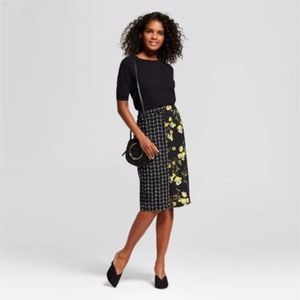 Who What Wear | Floral & Window Pane Pencil Skirt
